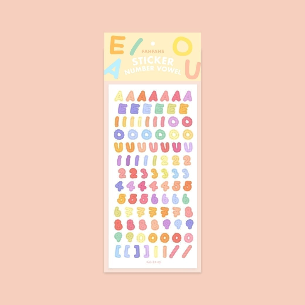 sticker number vowel cover