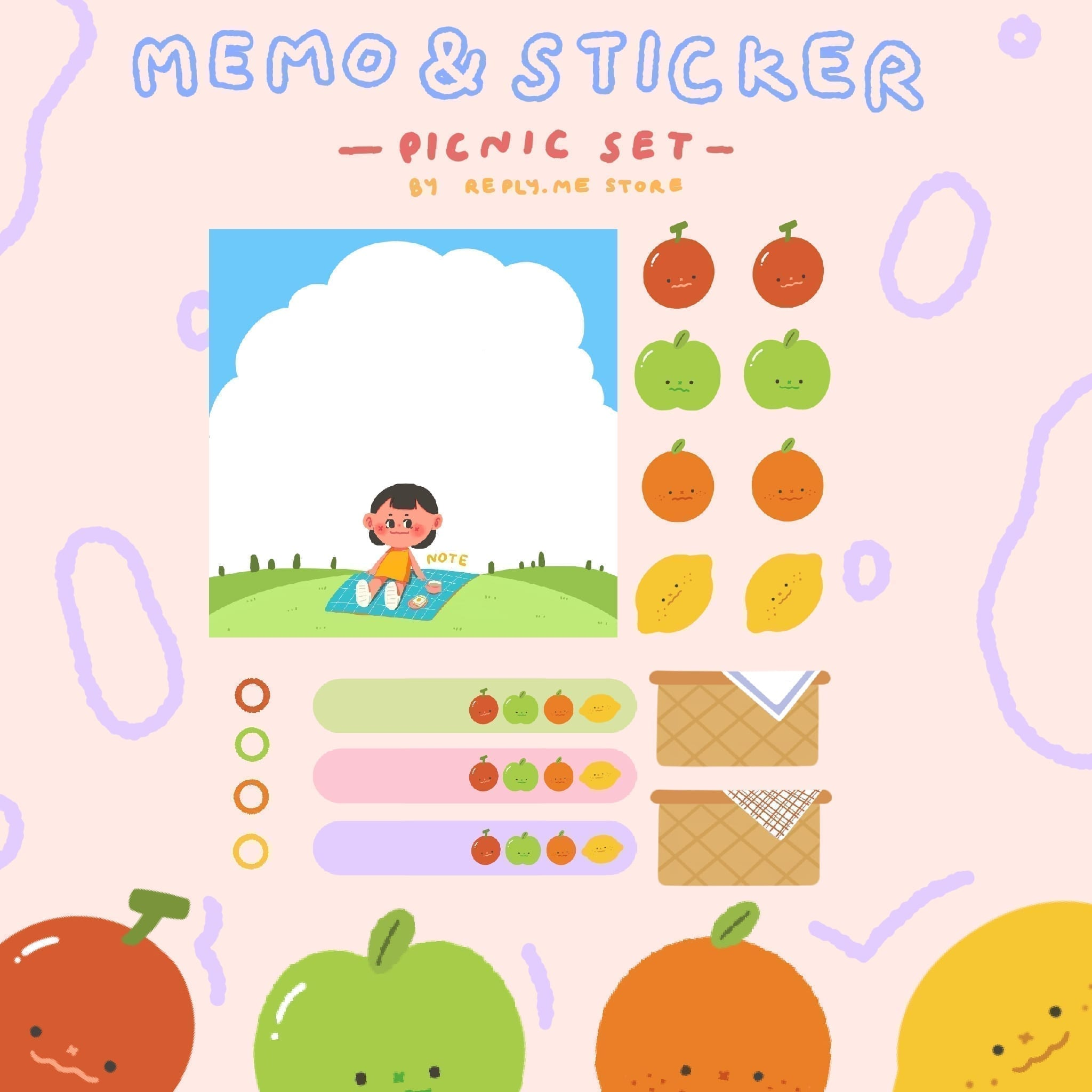REPLY.ME | GOODNOTES MEMO & STICKER (Picnic set)