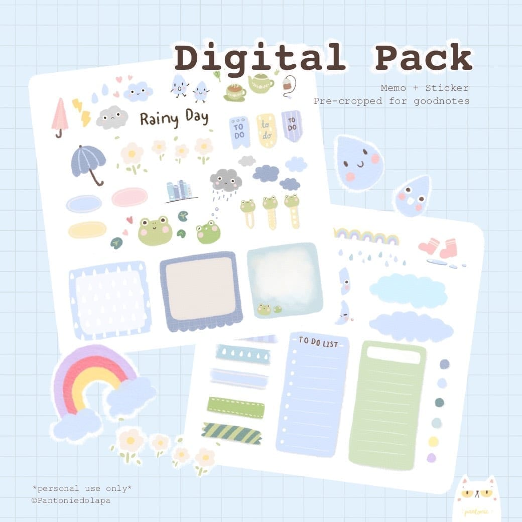 PANTONIE | GOODNOTES DIGITAL PACK (Rainy day sticker)