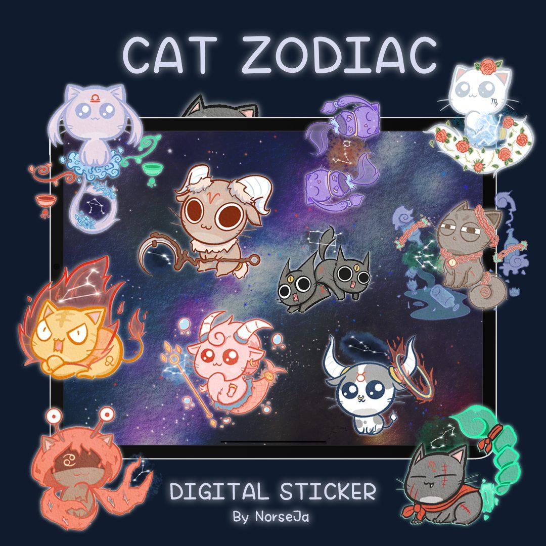 NORSEJA | GOODNOTES DIGITAL STICKER (Cat Zodiac)